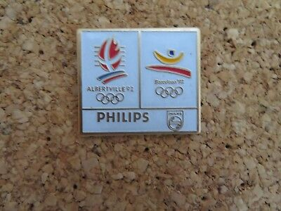 Rare  Pin's .. Olympique Olympic Albertville Barcelona 1992 Philips