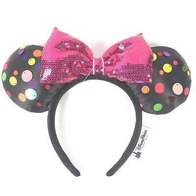 Disney Parks Rock The Dots Mickey Minnie Mouse Bow Sequins Ear Hat Headband Ears