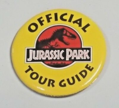1993 Jurassic Park Movie Promo Pin Button Official Tour Guide