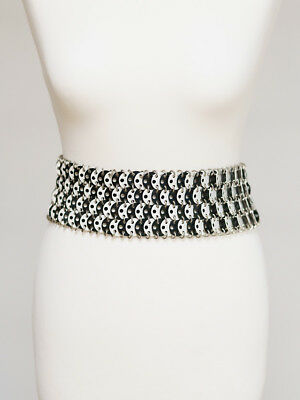 "Vintage Ladies Paco Rabanne Inspired Black/ White"" Wasp Waist"" Belt.Size 22/23in"