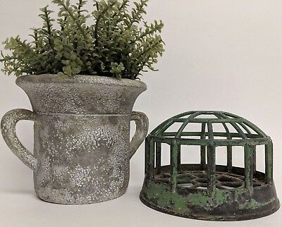 Vintage Floral Frog Metal Cage Chippy Green Paint Top Cone Shape