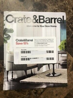 2 Trip Crate and Barrel 15% OFF Coupon- Entire Purchase- Exp. 1/31/19