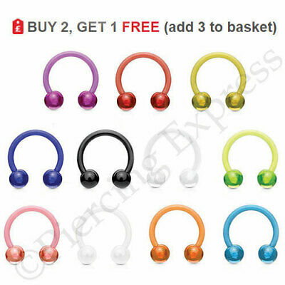 Horseshoe Bar Circular Barbell Septum Nipple Nose Ear Flexible Balls UV ACRYLIC
