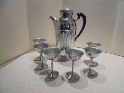 Art Deco Cocktail Shaker and 6 chrome goblets Krome Kraft by Farber Bros.