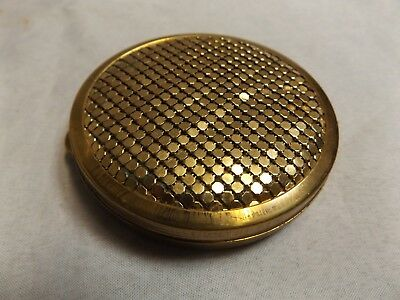 Vintage Gold Brass Makeup Compact Ca 1960s