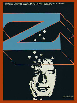 """Movie Poster for French film/""""z/""""Yves MONTAND.Costa Gavras art.Blue Zeta.Room wall"""