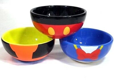 Disney Parks Mickey Mouse Goofy Donald Character Ceramic Bowls Set Of 3