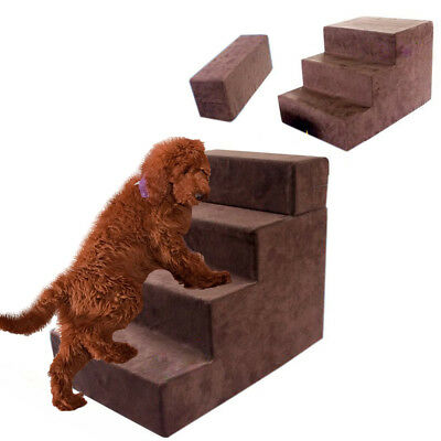4 Steps Soft Foam Pet Dog Puppy Stairs Adjustable Folding Washable Lightweight