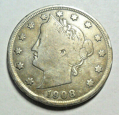 "1908 P Liberty Head ""v"" Nickel *f - Fine*  *free Shipping*"