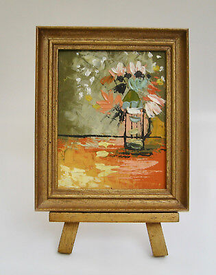 Original Oil on Board Miniature Expressionist Painting