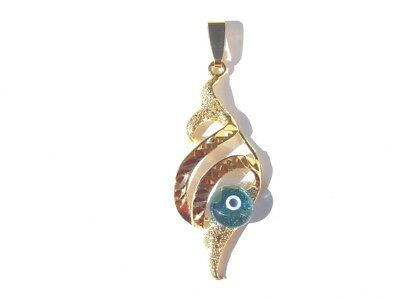 Gold Filled Leaf Classic  Italian Murano Glass Evil Eye Pendant Necklace  Greece