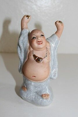 Painted and Glazed Porcelain Buddha Small Statue