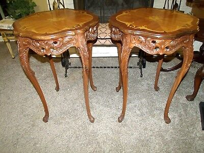 Pair of French or French Style Carved and Marquetry Inlaid Side End Lamp Tables