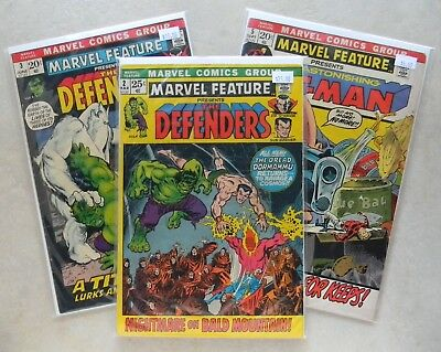 Marvel Feature #2 3 5 $45.00 LOT (1972) 5.5 FN- Key 2nd & 3rd DEFENDERS! Ant-Man