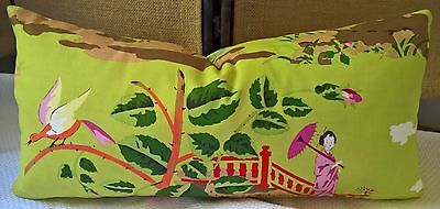 """Scalamandre China Rose Chinoiserie Pillow Cover 11""""x23"""" Pink & Orange on Green!"""