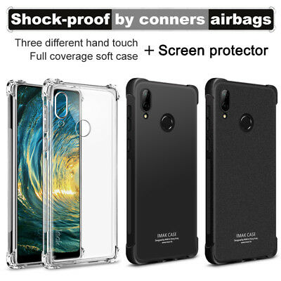 IMAK Shockproof Soft TPU Case Cover + Glass Protector For Huawei P20/Pro/Lite