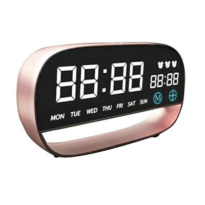 1* Home Mirror Surface LED Electronic Clock Bedside Alarm Temperature Display UK