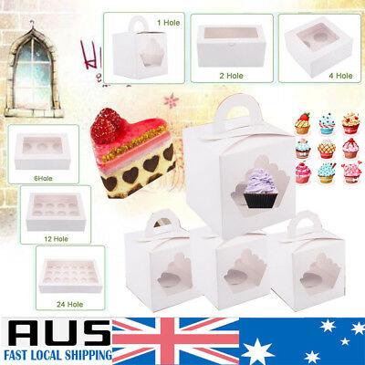 25Pcs Cupcake Box Paper Case 1/2/4/6/12/24 Holes Window Face Party Birthday