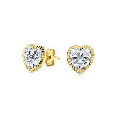 Tiny REAL 14K Yellow Gold Heart Cubic Zirconia Textured CZ Bezel Stud Earrings