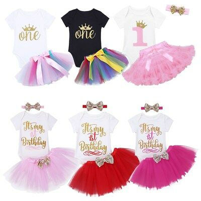 Toddler Baby Girls 1st Birthday Romper + Tutu Skirt+ Headband Party 3PCS Outfits