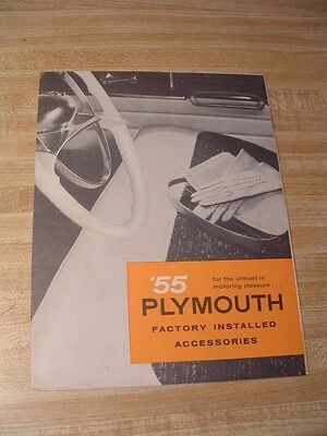 "ORIGINAL 1955 PLYMOUTH FACTORY INSTALLED ACCESSORIES CATALOG POSTER 18""x 20-1/2"""