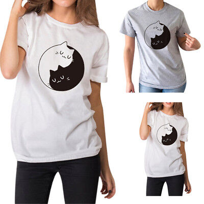 Fashion Women Girl Summer Casual Cat Print Crewneck Tops Tee Shirts Blouse