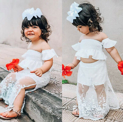 Cute Toddler Kid Baby Girl White Lace Floral Tops Long Skirt Outfits Set Clothes