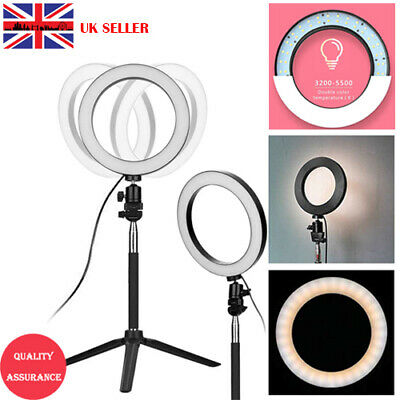 UK LED Ring Light Studio Video Dimmable Lamp Tripod Stand Selfie Camera Phone