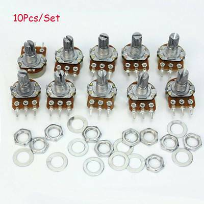 10Pcs B10K Ohm Linear Taper Rotary Potentiometer Panel Pot 15mm