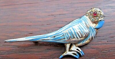 Vintage Sterling Silver Signed REJA Tu can Parrot Macaw Blue Enameled Bird Pin