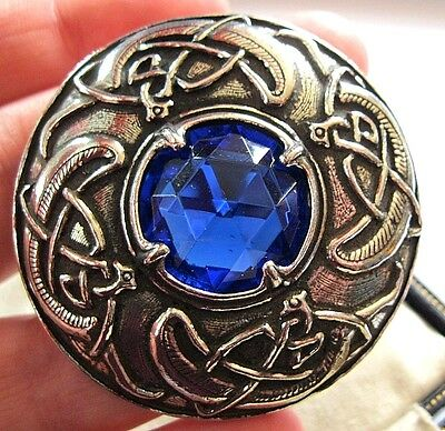 Vintage Design Signed Miracle Celtic Zoomorphic Kilt Blue Glass Brooch Shawl Pin