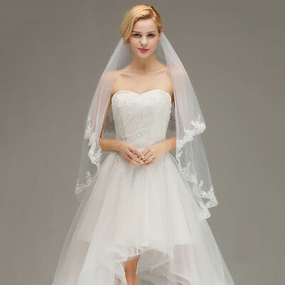 2 Layer White Ivory Elbow Wedding Bridal Veil With Comb Lace Edge Applique New