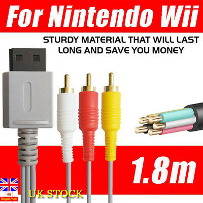 6ft/1.8m Audio Video AV Composite 3RCA Cable TV Lead Wire For Nintendo Wii Game