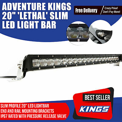 20 inch LED Light Bar Single Row 200W IP67 Rated Spot Spread Dual Mount Kings Il