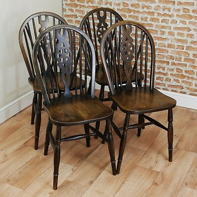 Set of 4 Vintage Priory Wheelback Bentwood Beech & Elm Dining Chairs Kitchen 50s