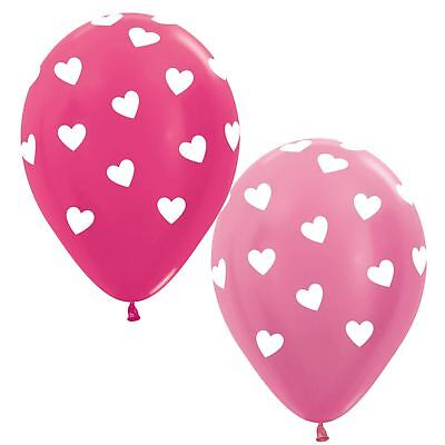 25pk Valentines Biodegradable Fuchsia Pink Love Heart Balloons Party Decoration