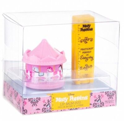 Disney Mary Poppins Lip Balm Practically Perfect Duo Set Ruler Carousel Gift