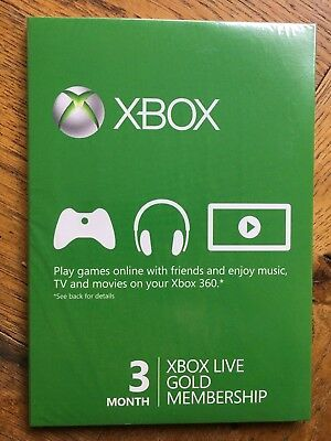 Microsoft Xbox Live 3 Month Gold Subscription Card - UK Version Sealed!