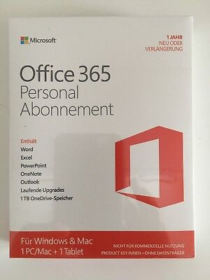 Office 365 Personal 32/64 x1 user 1 year Subscription for Windows Mac QQ2-00047