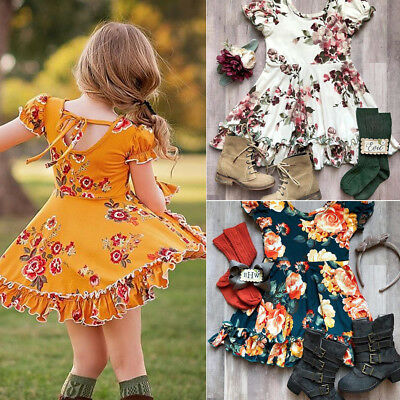 Floral Toddler Kids Baby Girls Summer Short Sleeve Dress Casual Clothes Spring