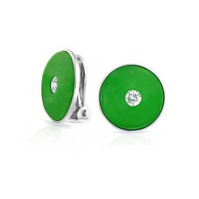 CZ Simulated Green Jade Disc Sterling Silver Clip On Earrings