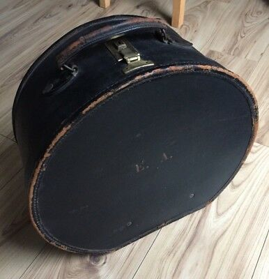Vintage Art Deco 1920s Large Black Leather Round Hat Case with Key Travel Trunk