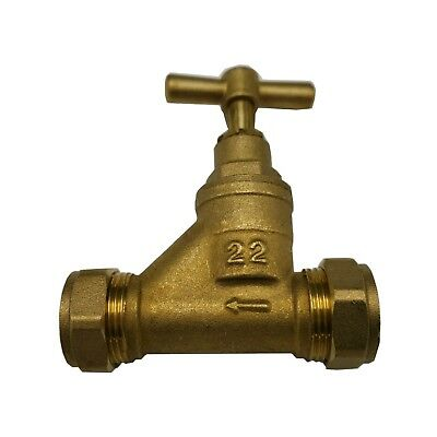 Compression 22mm Copper Tube Brass Stop Tap Isolating Valve Mains Water Stopcock