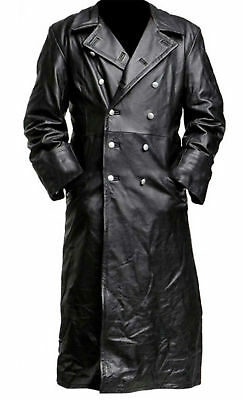 German Classic Officer WW2 Military Uniform Black real Leather Trench Coat