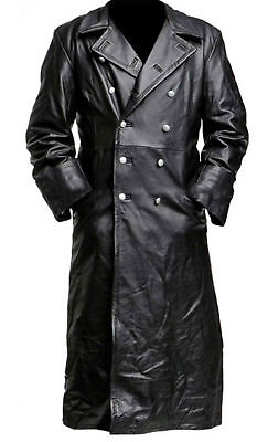 Men Real Leather Long German Trench Coat Ww2 Classic Officer Military Black Coat