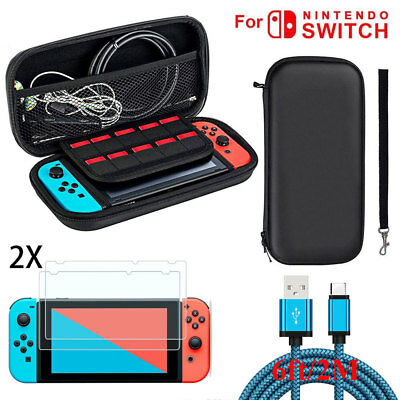 For Nintendo Switch Travel Carrying Case Bag+6ft Charging Cable+2*Film Protector