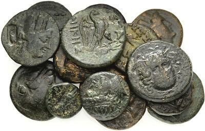 FORVM Lot of 15 Nice Ancient Greek Bronze Coins 15-21mm