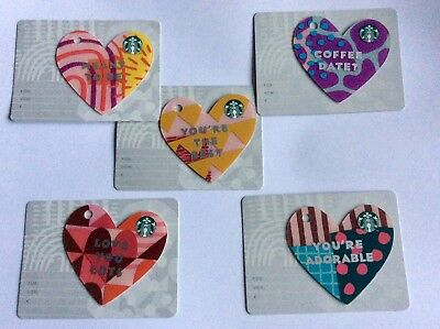 Starbucks card Germany  # 6162 Set of 5 new issued Valentine 2019 HEART cards