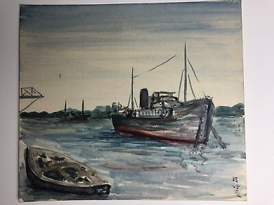 Vintage Signed Japanese Watercolor Painting Boats in a Harbor Seascape