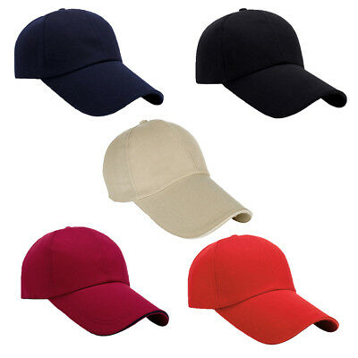 Mens Women Classic Plain Adjustable Baseball Caps Work Leisure Casual Sports